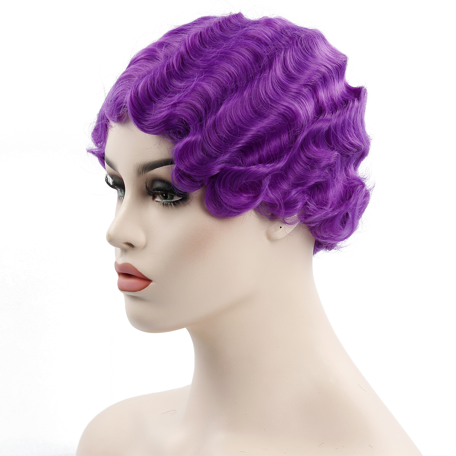 YXCHERISHAIR finger wave Wig for Women Purple Pink Finger Waves Wigs for African American Cosplay wig Hair фото