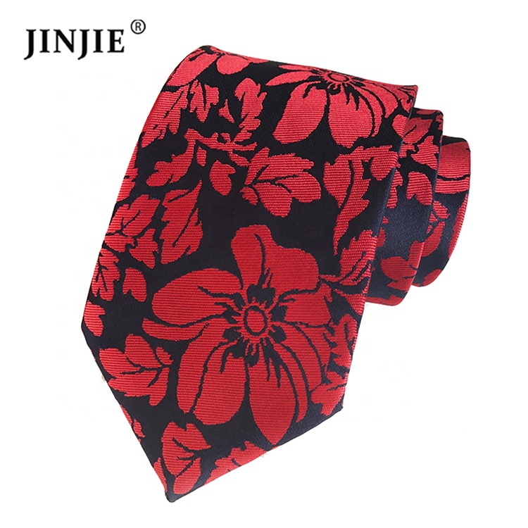 Top quality red and <strong>blue</strong> floral peony <strong>flower</strong> pattern custom logo necktie <strong>ties</strong> for sale