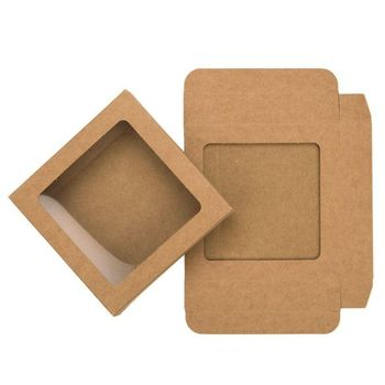 PVC window kraft paper box with cover