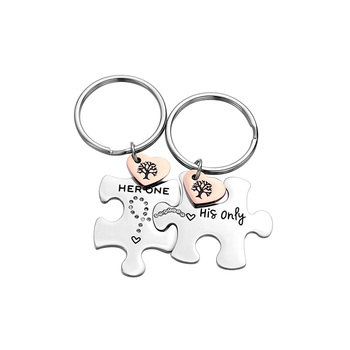 Jewelry for Him & Her Gift for Girlfriend Boyfriend Best Friend Stainless Steel Puzzle Couple Keychain (her one his only)