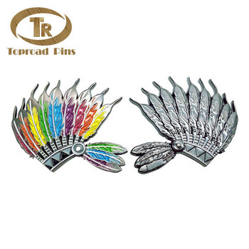 Wholesale high quality custom design peacock wing geocoin hard metal challenge coin