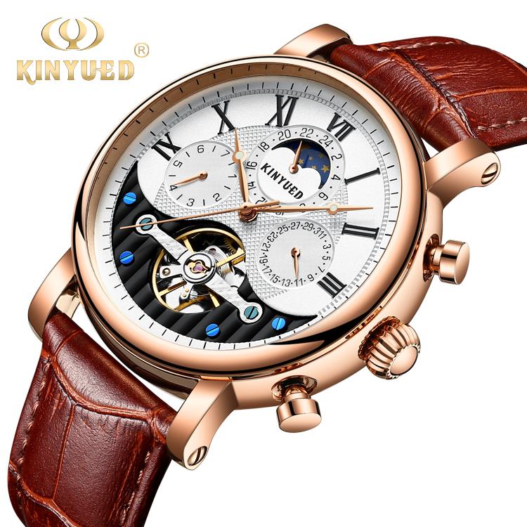 KINYUED Auto Date Genuine Leather Strap Minimalist Watch Hand Watch Male Tourbillon Watch Men фото