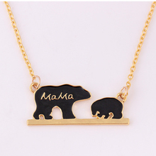 Best selling new design  mother baby bear shaped necklace jewelry bear variety of bear pendant alloy drop oil clavicle chain