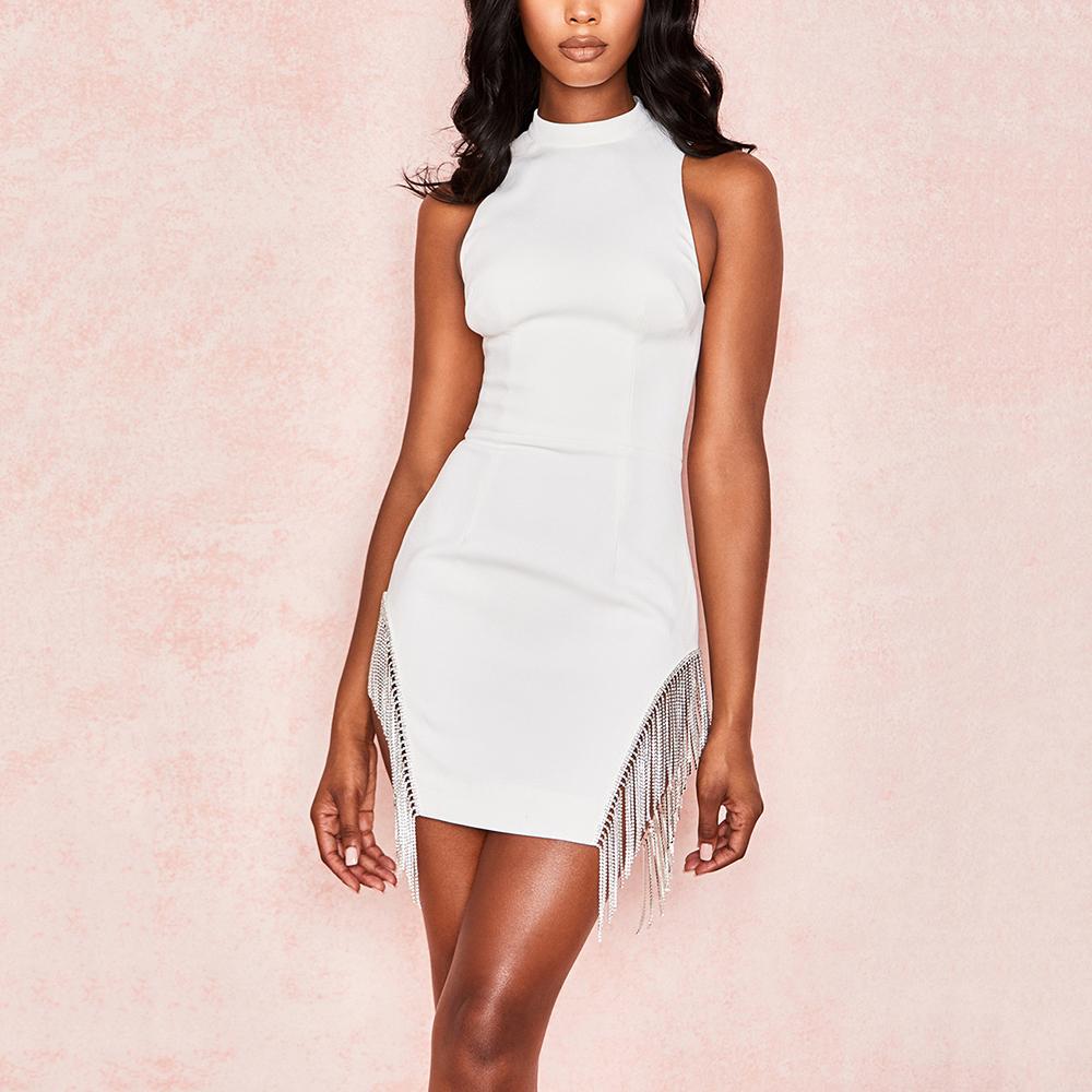 Summer sleeveless halter white mini bandage party sexy dress фото