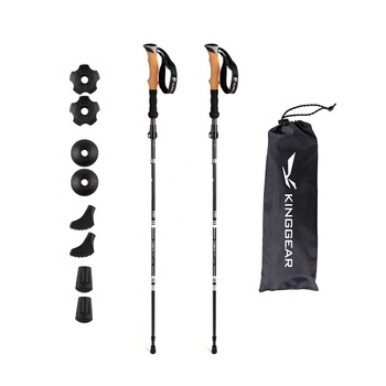 Inklapbare 5 Secties Folding Backpacken Koolstofvezel nordic telescopische Wandelstokken Trekking Poles