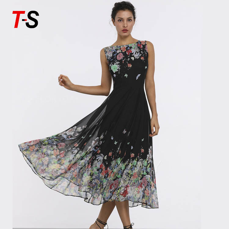 New 2019 print evening dress round neck sleeveless floral dress фото
