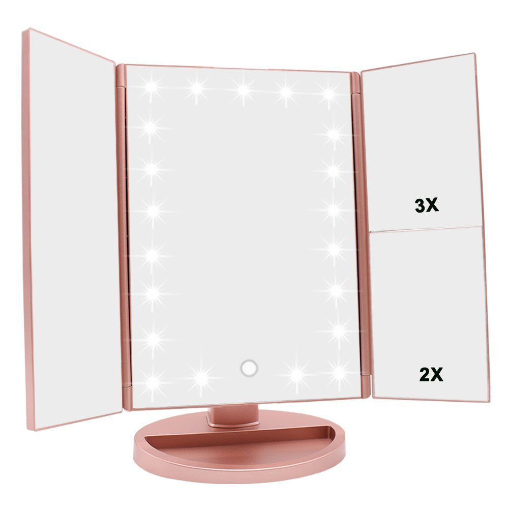 Cosmetic Make up Led Makeup Mirror with Lights USB Charging Foldable 22 Light Magnifying Makeup Mirrors, White;black;pink and sky blue;also customize