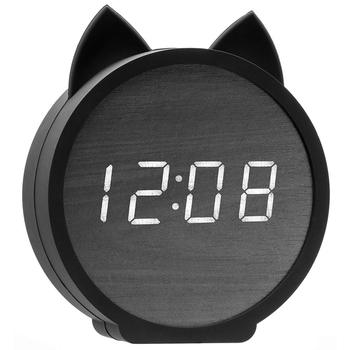 Justup Wooden Digital Rabbit Alarm Clocks, Cute Cat Shape Display Time and Temperature Table Clock