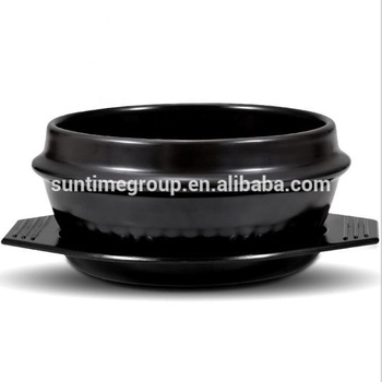 Eco- Friendly Korean Black Kitchenware Ceramic Stone Bowl with Trivet