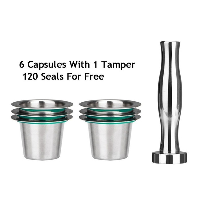 Stainless Steel Nespresso Reusable Coffee Capsule Refillable Cup Filter Coffee Maker Pod With 120 Seals фото