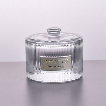 Glass perfume bottle vertical stripe metal label luxury diffuser wholesales