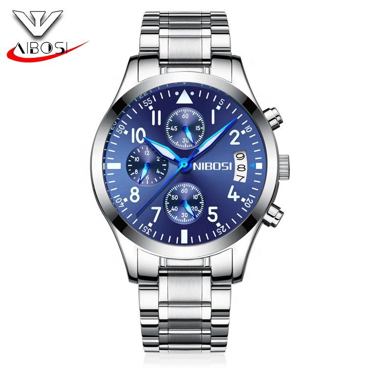 NIBOSI top watches luxury brand business quartz watch men stainless steel band watch Relogio Masculino фото