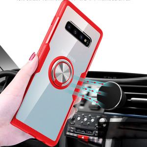 For Samsung galaxy S9 S9 plus S10 S10 plus S10 lite Magnetic Ring Clear  Mobile Phone Case