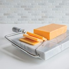 Wholesale Custom White Color Marble Cheese Slicer Board with Stainless Steel Wire