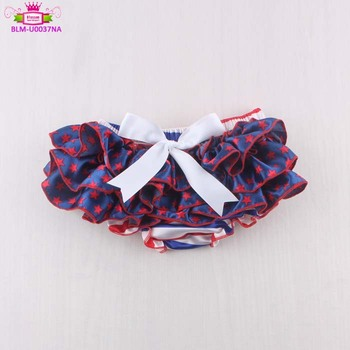 Hot selling 4th of July holiday girls panties bloomer 100 polyester satin stars & stripe white bow baby bloomer bummies