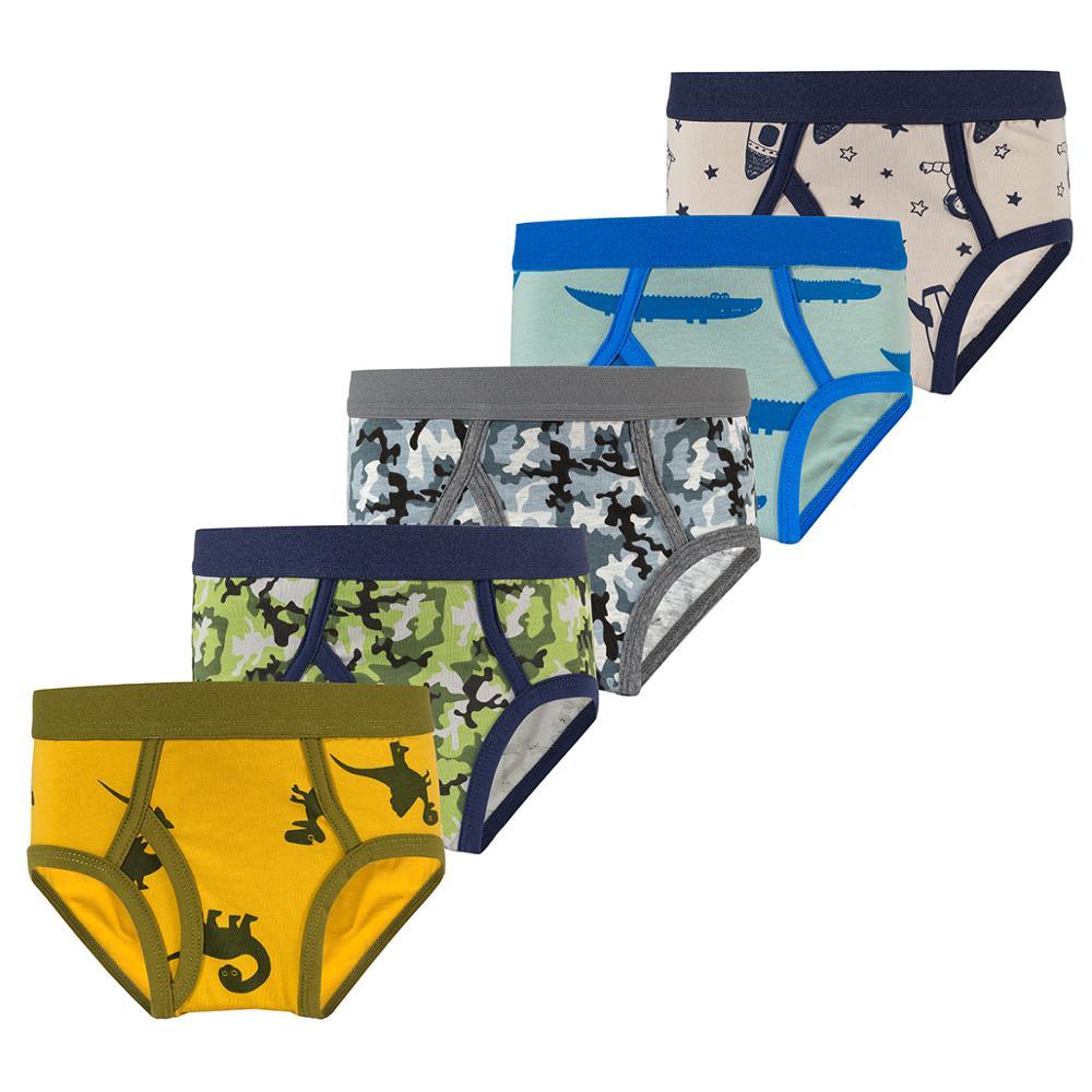 Ku-lee Kids 100/% Cotton Briefs Cute Dinosaur Printed Underwear for Boys Pack of 5