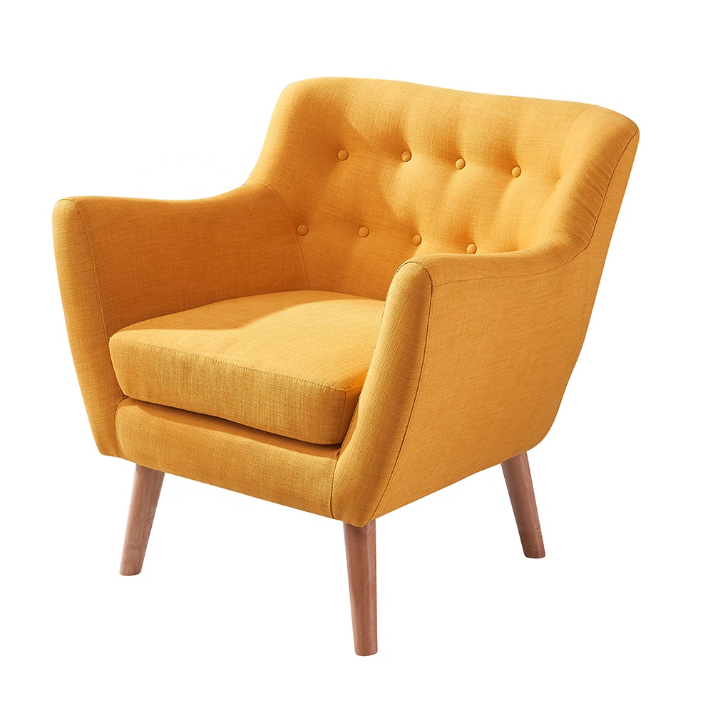 Indoor Wooden Chairs Furniture Living Room Yellow Fabric Accent