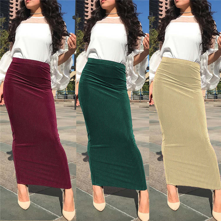 2019 Hot Sale Cheap Fashion 5 Colors Velvet Skirts Long Skirts for Young Women, Wine red;dark green;pink;apricot;black