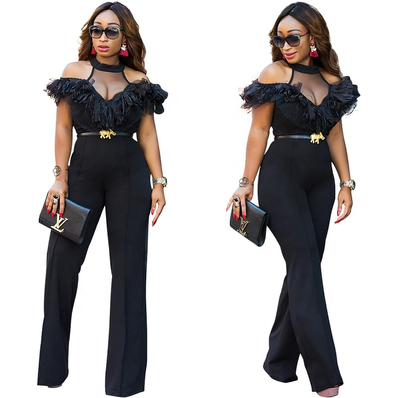 Sexy Halter Neck Mesh Women Fashion Jumpsuit Cold Shoulder Black Ladies Jumpsuit with Flutter Ruffle Jumpsuit фото