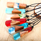 Vintage Fashionable Wooden Wood Resin Necklace Pendant Jewelry Men Woman, Woven Rope Chain, Hot Selling Gift Wholesale Custom