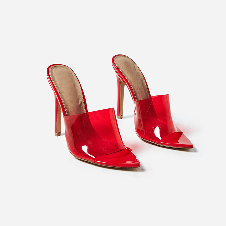 thoughts on quality official site Custom Latest Perspex Pointy Toe Ladies Sandals Red Mules Shoes ...