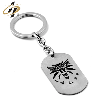 wholesale custom rectangle keychain engravable solid dog keyring metal key tag