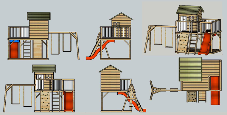 2019 cheap wooden playhouse with swing and slide for kids