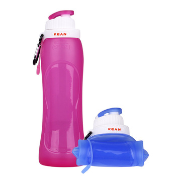 China Factory Unique OEM Collapsible Sports BPA Free 500ML Silicone Water Bottles