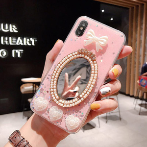 luxury pearl diamond makeup mirror phone case for iphone xs max xr xs 6 6s 7 8plus protective case