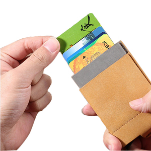 Customized PU leather RFID Credit Card Holder Minimalist Aluminum Metal Case with Slim Money pocket Pop up Card Holder