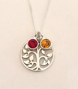 Stainless Steel Family Tree Necklace, Birthstone,High Polished Mom Jewelry, Mother's Day Gift