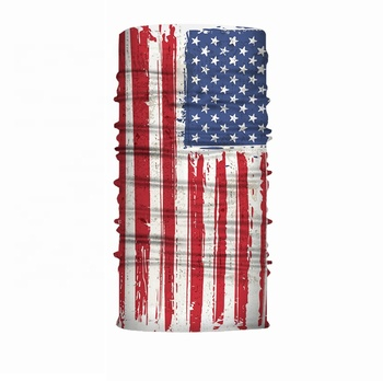 100% Polyester Fabric Custom Logo Headscarf American Flag Mask Bandana