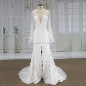 2019 Very Soft Expensive French Lace With Bell French Lace Wedding Gown Buy Lace Wedding Gownbell Sleeve Lace Wedding Dress34 Long Sleeves Lace