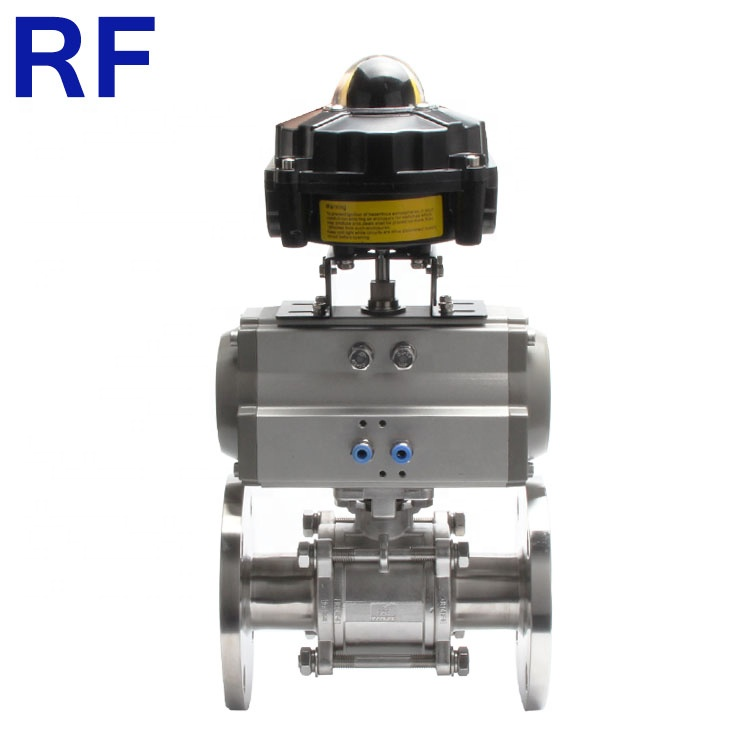 RF Higienis Stainless Steel Flange 3 Pcs Ball Valve dengan Limit Switch Box Solenoid Valve Air Filter