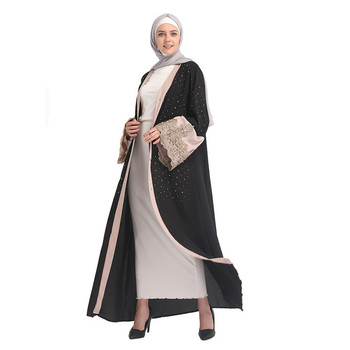 Lace High Quality Fashionable Clothing Black Long Sleeve Thobe Beautiful Islamic Women Muslim Baju Kebaya