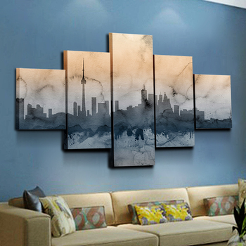 Shanghai Oriental Pearl abstract black and white wall art for living room Orientalist Paintings