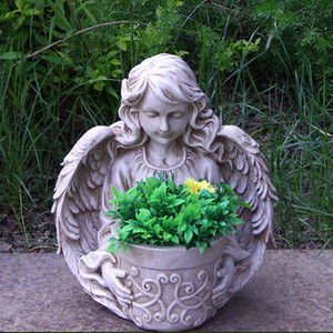 frp hotel lobby life size angel statue flower pot