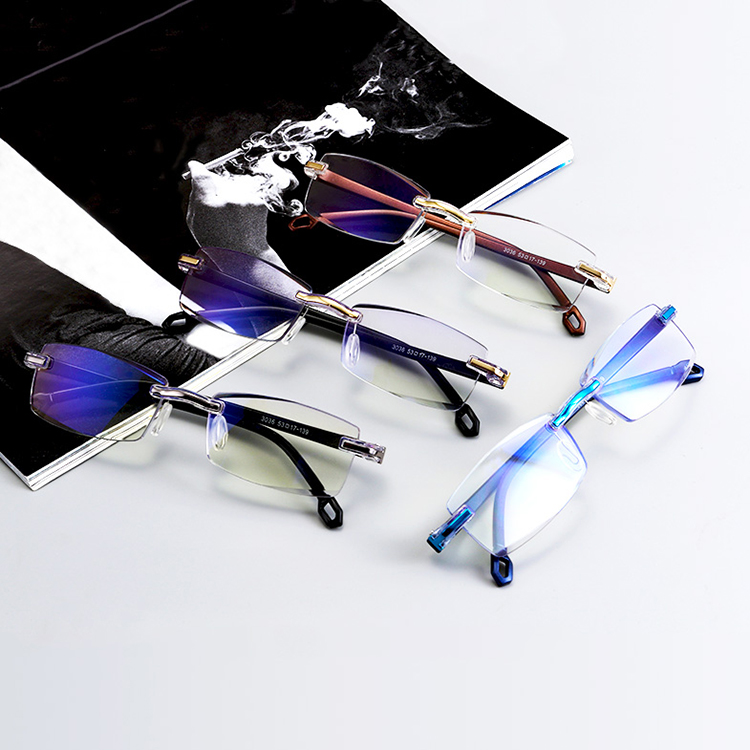 Rimless Rectangle Blue Block Reading Glasses Women