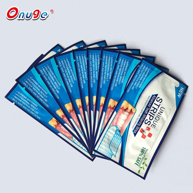 Onuge oral care whitening strips private label, non hyderogen peroxide tanden wit gel strips