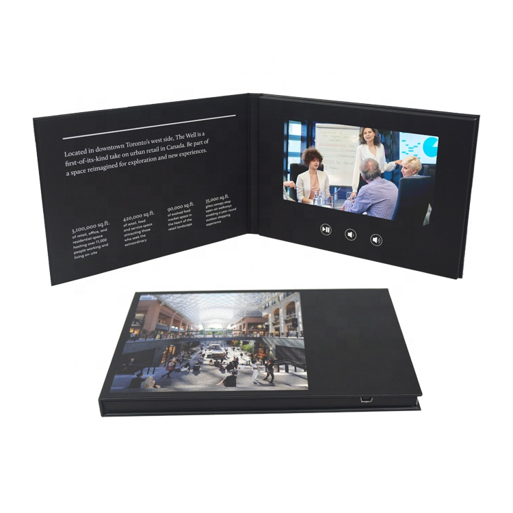 China wholesale digital wedding invitation 7 inch tft lcd screen video greeting card/ LCD brochures support all video formats