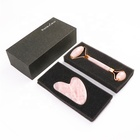 New Product Best Private Label High Quality Anti Aging Body Massage Jade Stone Natural Pink Rose Quartz Face Roller Set