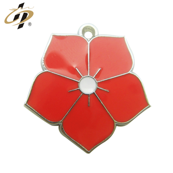 custom cheap Red flower soft enamel paint charm jewelry pendant