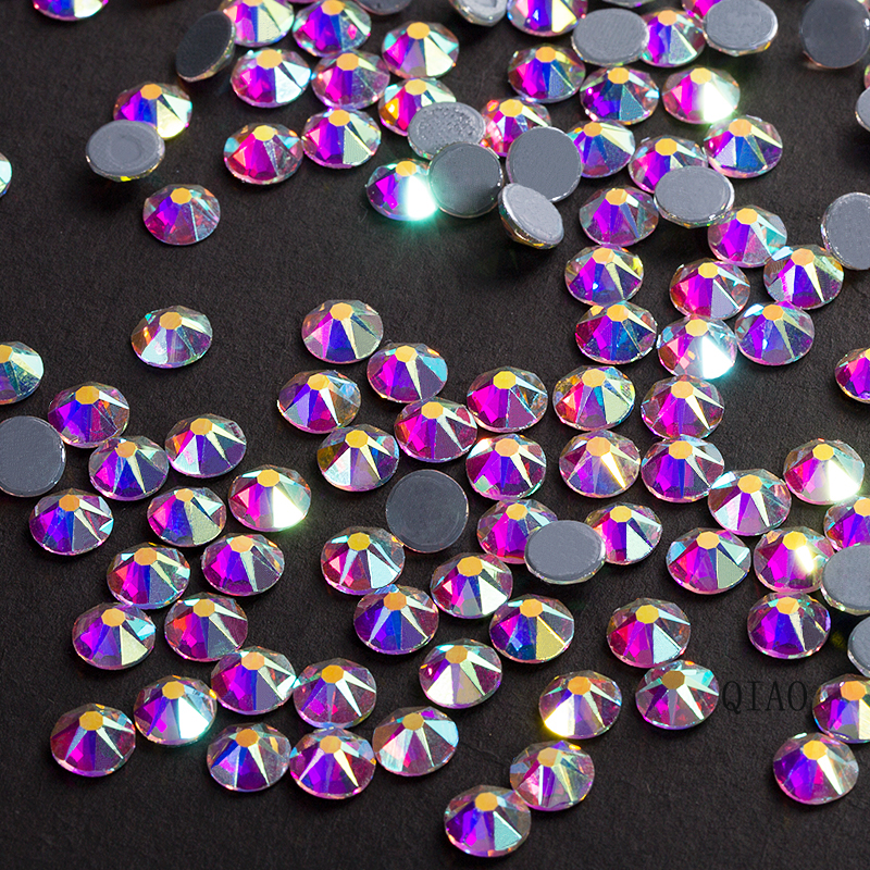 Trendy 8 big and 8 small High Quality Beauty Hot Fix  Faceted Flatback Crystal Iron On  Hot fix rhinestone