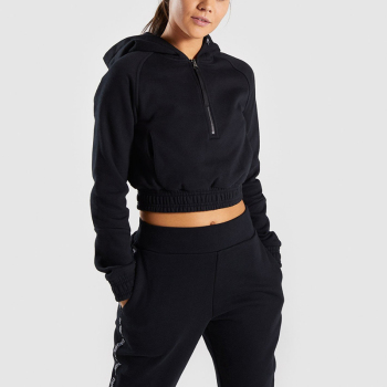 OEM women black gym cotton hoodie