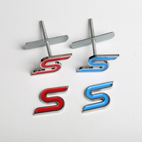 Car Grill Emblem For Ford Focus Mondeo S Red Blue Black Metal Tuning Front Grille Badge Sticker