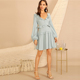 Ruffle Trim Button Front Knotted Lantern Sleeve Mini Dress Women Spring Sweet V Neck Cut Out A Line Long Sleeve Dress