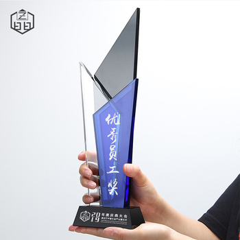 Customize Outstanding Design Logo Engraved Columns For Employee Gifts Colorful Crystal Color Sandblast Academy Award Trophy