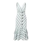 Vintage Striped Women Long Dress Summer