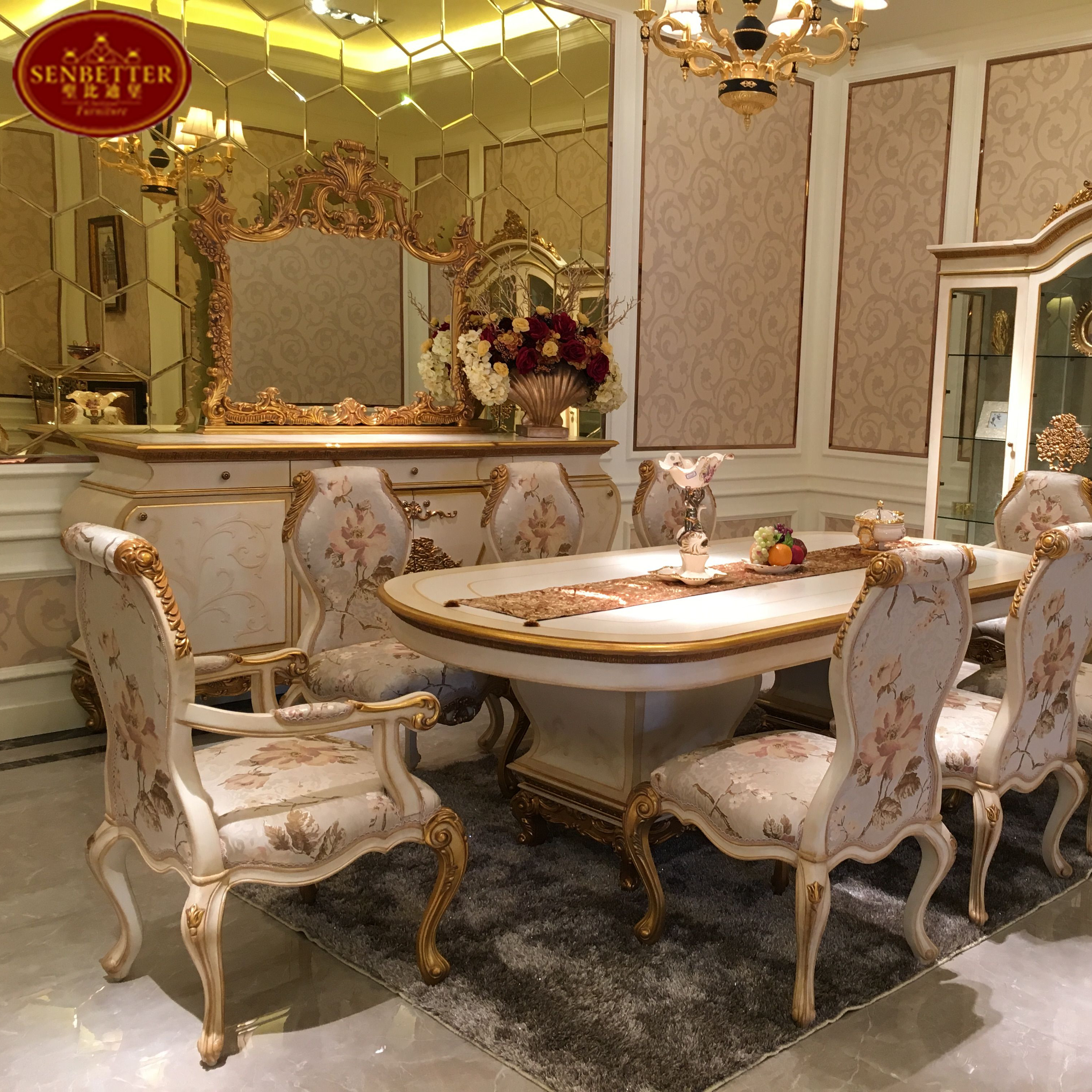 0067 Luxury golden wood dining furniture, classic country style dining room  set, View classic country style dining set, SENBETTER Product Details from  ...