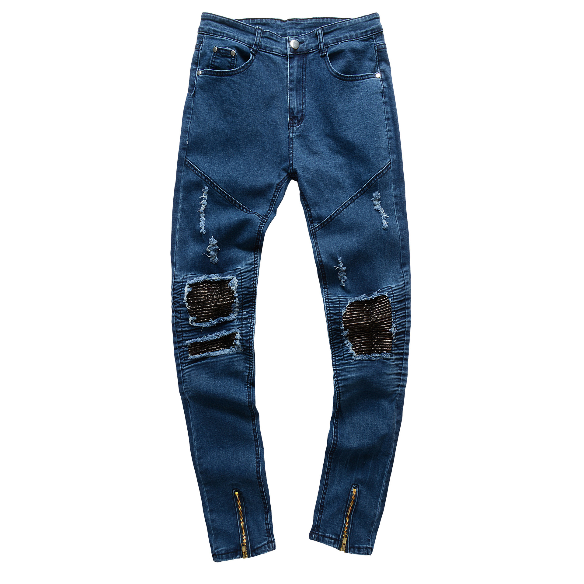 New arrived free shipping custom made logo cotton high quality mens biker jeans фото